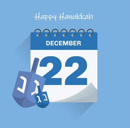 Vector illustration. Calendar of 22th December with shadow. Hanukkah concept Zdjęcie Seryjne - 131296240
