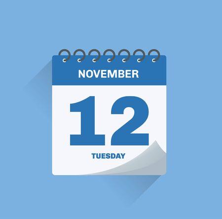 Vector illustration. Day calendar with date November 12.