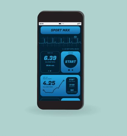 Vector illustration. Flat vector of smartphone with app health tracking activity. Fitness concept. All screen graphics are made up by us Illustration
