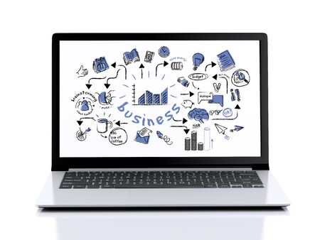 image of Modern Laptop with white screen. 3d illustration on white background