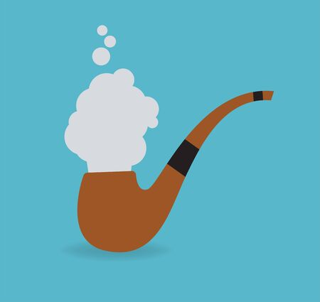 Vector illustration. Smoking pipe with smoke isolated on blue background.