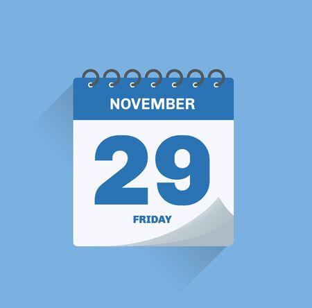 Vector illustration. Day calendar with date November 29.