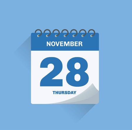 Vector illustration. Day calendar with date November 28.