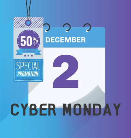 Vector illustration. Calendar of 2nd December with shadow. Cyber Monday concept