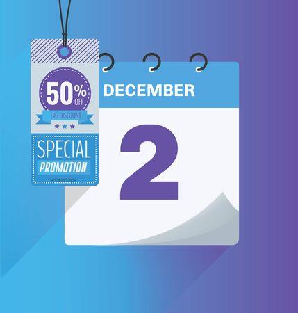 Ilustración de vector. Calendario del 2 de diciembre con sombra. Concepto de Cyber Monday