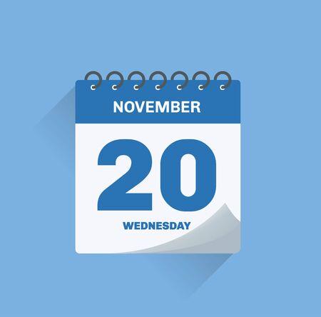 Vector illustration. Day calendar with date November 20.