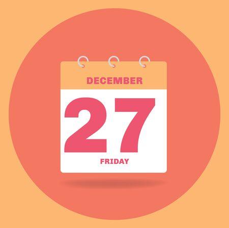 Vector illustration. Day calendar with date December 27. Ilustração