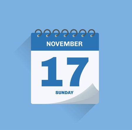 Vector illustration. Day calendar with date November 17.