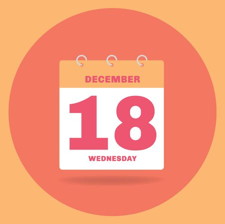 Vector illustration. Day calendar with date December 18.