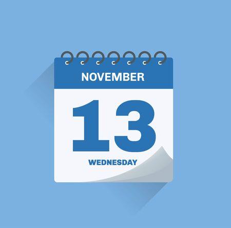 Vector illustration. Day calendar with date November 13. Ilustração