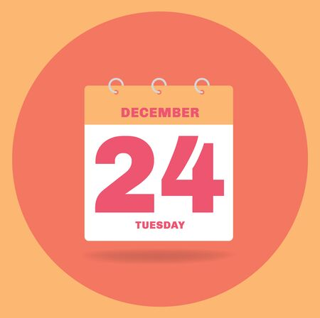 Vector illustration. Day calendar with date December 24.
