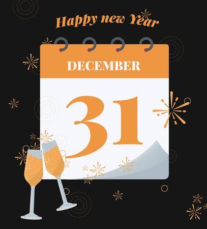 Vector illustration. Calendar of 31st December with shadow. New Year concept Ilustração