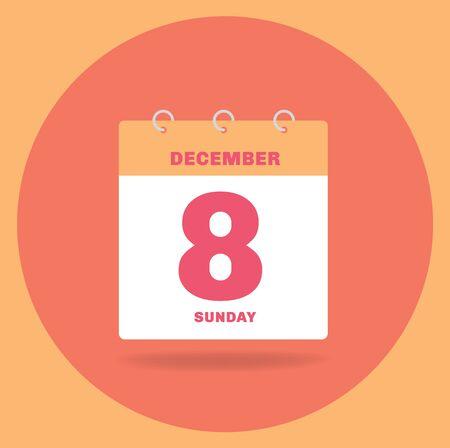Vector illustration. Day calendar with date December 8. Ilustração