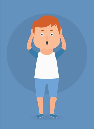 Vector illustration of young man with shocked expression.
