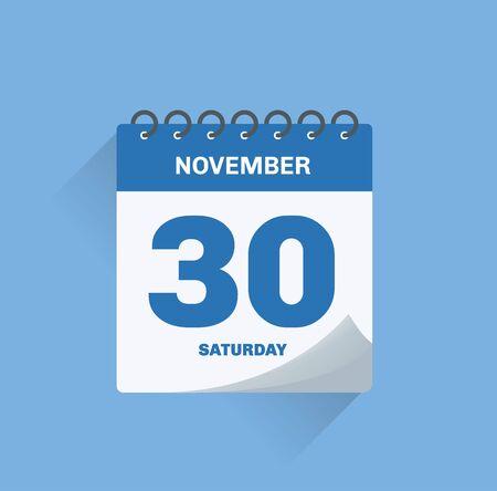Vector illustration. Day calendar with date November 30.
