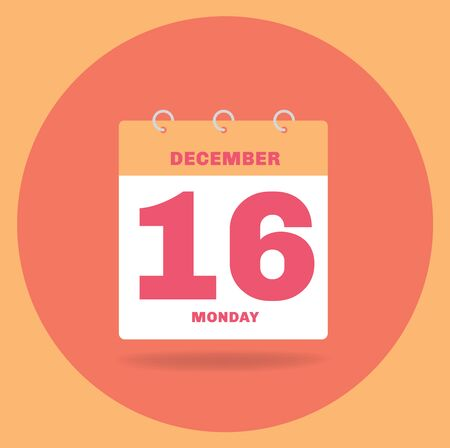 Vector illustration. Day calendar with date December 16.