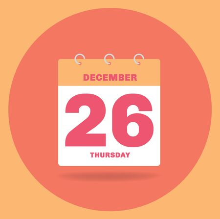 Vector illustration. Day calendar with date December 26.
