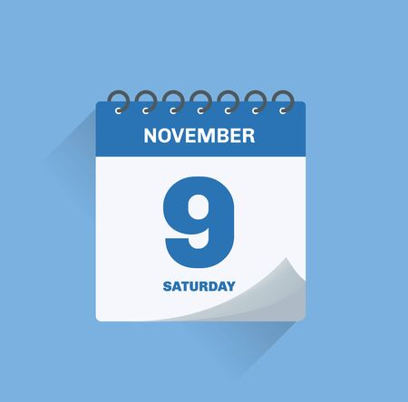 Vector illustration. Day calendar with date November 9.