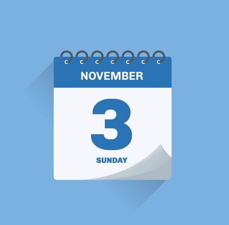 Vector illustration. Day calendar with date November 3