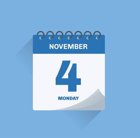 Vector illustration. Day calendar with date November 4.