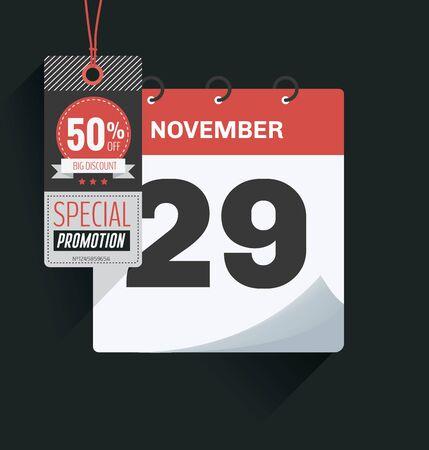 Vector illustration. Calendar of 29th November with shadow. Black friday concept Ilustração