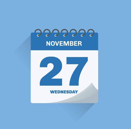 Vector illustration. Day calendar with date November 27. Ilustração