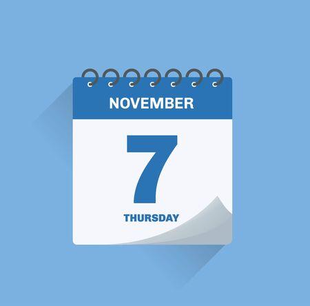 Vector illustration. Day calendar with date November 7.