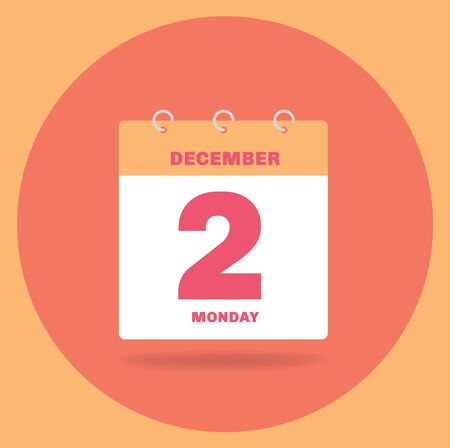 Vector illustration. Day calendar with date December 2.