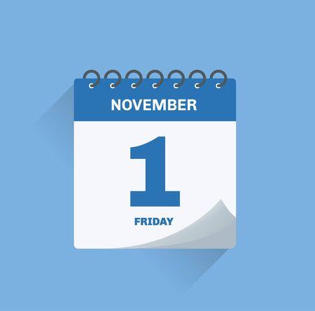 Vector illustration. Day calendar with date November 1.