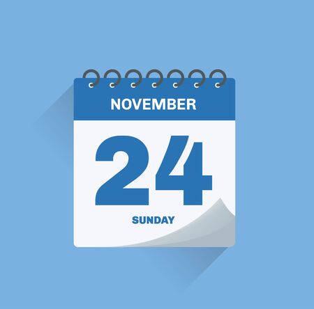 Vector illustration. Day calendar with date November 24. Banco de Imagens