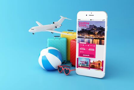 3d illustration. Flip flops, travel suitcase, beach ball and smartphone with application for booking hotel. Travel and navigation concept. All screen graphics are made up by us 版權商用圖片