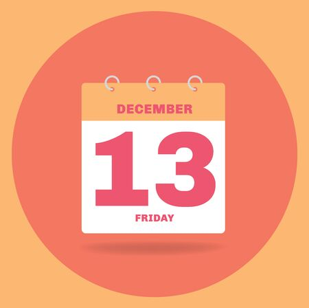 Vector illustration. Day calendar with date December 13. Stock Photo