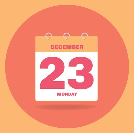 Vector illustration. Day calendar with date December 23. Stock Photo