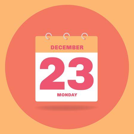 Vector illustration. Day calendar with date December 23. Reklamní fotografie