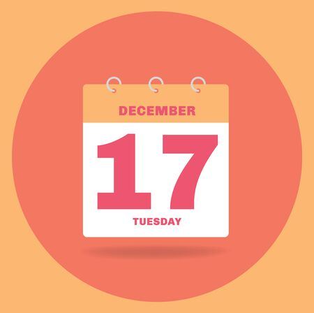 Vector illustration. Day calendar with date December 17.