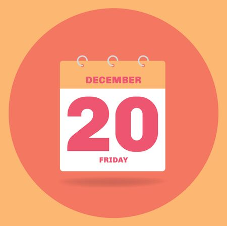 Vector illustration. Day calendar with date December 20.