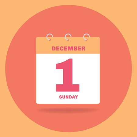 Vector illustration. Day calendar with date December 1. Stock Photo