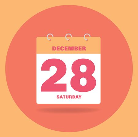 Vector illustration. Day calendar with date December 28.