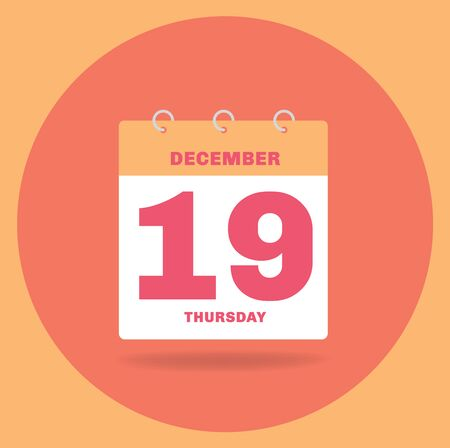 Vector illustration. Day calendar with date December 19.