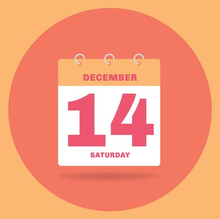 Vector illustration. Day calendar with date December 14.