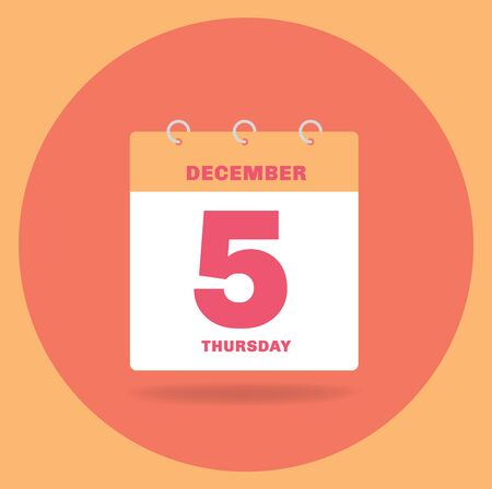 Vector illustration. Day calendar with date December 5. Stock Photo