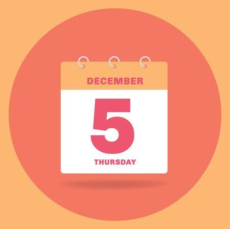 Vector illustration. Day calendar with date December 5. Reklamní fotografie