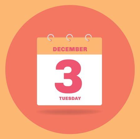 Vector illustration. Day calendar with date December 3.