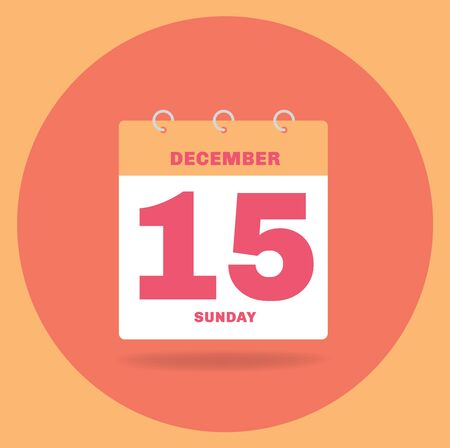 Vector illustration. Day calendar with date December 15. Stock Photo