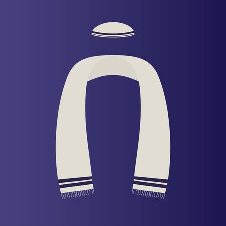 Vector illustration. Flat icon of Kippah with Tallit (jewish ritual objects). Religion concept