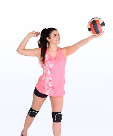 Portrait of young volleyball woman. Volleyball game sport. Isolated white background.