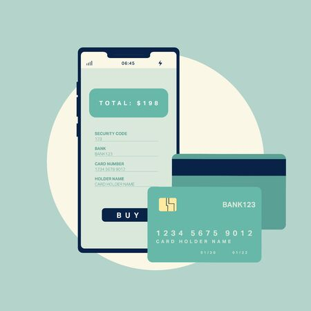 Vector illustration. Smartphone with credit card. Online shop and online payment concept.