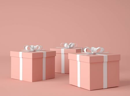 3D Illustration. Gift boxes with bow-ribbon isolated on pink background. Present box. Birthday gift.