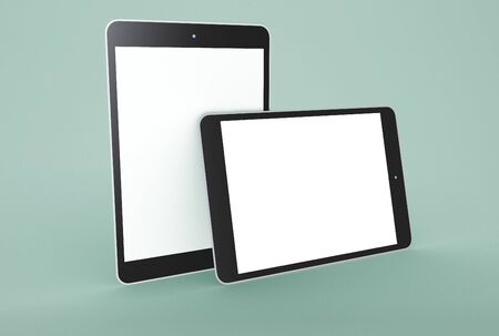 3D Illustration. Mockup of two digital tablets with white screen on isolated background. Technology concept. Mockup concept.