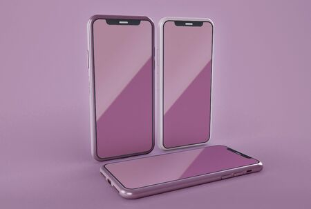 3D Illustration. Set of three modern touchscreen smartphones with pink color on screen. Isolated on pink background. Technology concept.